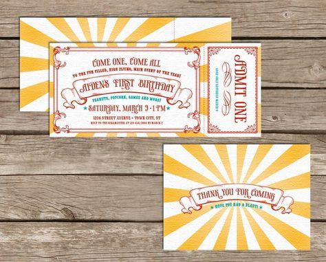 Vintage circus invitations