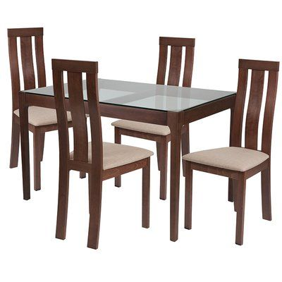 Ebern Designs Clio 5 Piece Dining Set Chair Color Brown Table