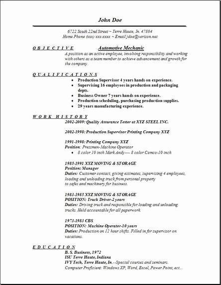 Fresh Automotive Mechanic Resume Occupational Examples Samples In 2020 Resume Objective Examples Resume Examples Resume Objective