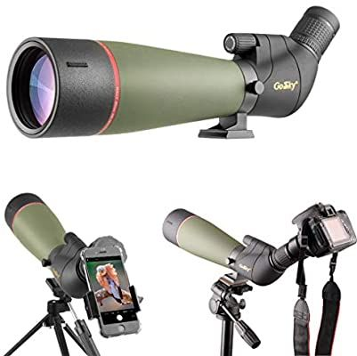 Amazon Com Gosky 2019 Updated Newest Spotting Scope With Tripod Carrying Bag Bak4 Angled Scope For Target Shoot In 2020 Spotting Scopes Phone Adapters Phone Mount