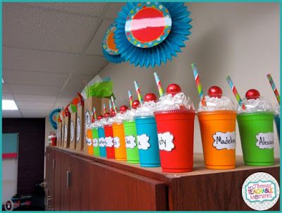 These cute student birthday gifts are Starbucks cups filled with candy made to look like milkshakes! These cute student birthday gifts are Starbucks cups filled with candy made to look like milkshakes! Classroom Birthday Gifts, Student Birthday Gifts, School Birthday Treats, Preschool Birthday, Classroom Fun, Student Gifts, Future Classroom, Gifts To Students, Kids Gifts