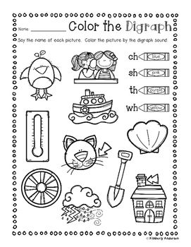 No Prep: Digraphs Coloring Picture Match Activity Sheets (ch ...