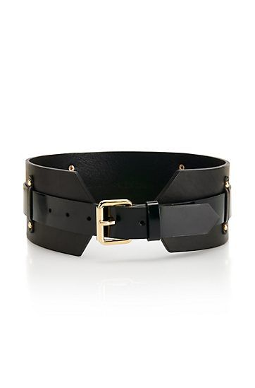 Wide leather 'Jiji' Belt