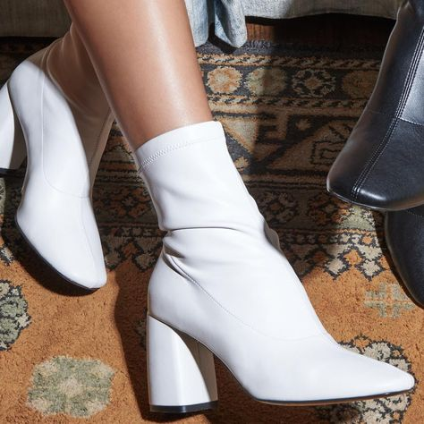 BellaMia White Nappa Stretch Leather Boot with Microfleece Lining White Heel Boots, Heeled Boots, White Gogo Boots, White Leather Boots, White Heels Shoes, Boots With Heels, White Heels Outfit, Socks And Heels, Pink Shoes