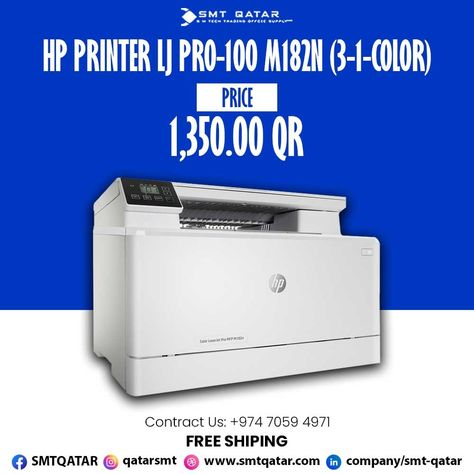 HP Printer LJ Pro-100 M182N with free shipping all over Qatar.
