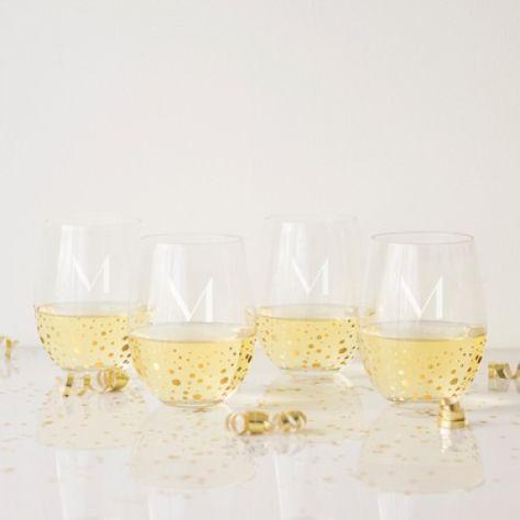 Gold Dot Stemless Wine Glasses