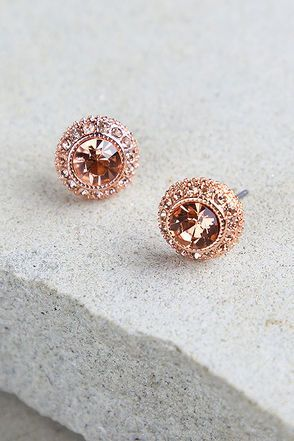 Realized Potential Rose Gold Rhinestone Earrings Gold Rhinestone Earrings Gold Rhinestone Rhinestone Earrings