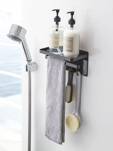 ラック フック ハンガーの機能が一つになったマルチラックで よりコンパクトにバスルームの小物をまとめられます 磁石がくっつく浴室 壁面に取り付けるだけの簡単収納アイテム お風呂収納 バスルーム収納 浴室収納 バスルーム ラック バスルームインテリア マイ