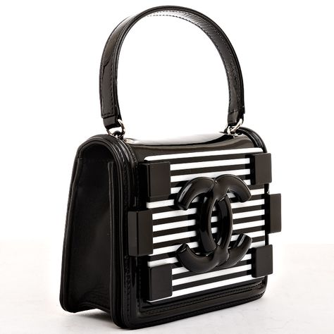 b661e740d132 View this item and discover similar handbags and purses for sale at - Chanel  black and white striped patent leather Boy Brick crossbody bag with  silvertone ...