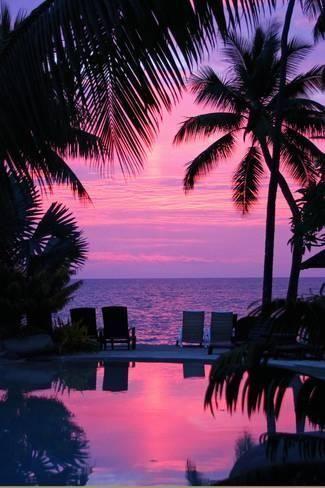 Photographic Print: Sunset in Hawaii / Pacific Paradise by Thomas Ruecker : 24x16in #hawaiibeachesparadiseadventure