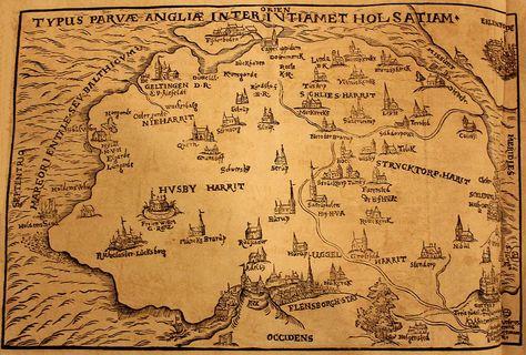 Foto Von Der Karte Von Angeln Von 1596 Mit Flensburg Kappeln