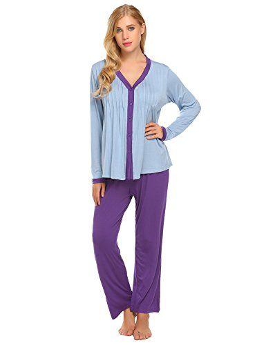 1e337a3b2 Langle Women Long Sleeve Casual Button-Down Cozy Pajama Set Pjs Winter  Sleepwear S-XXL