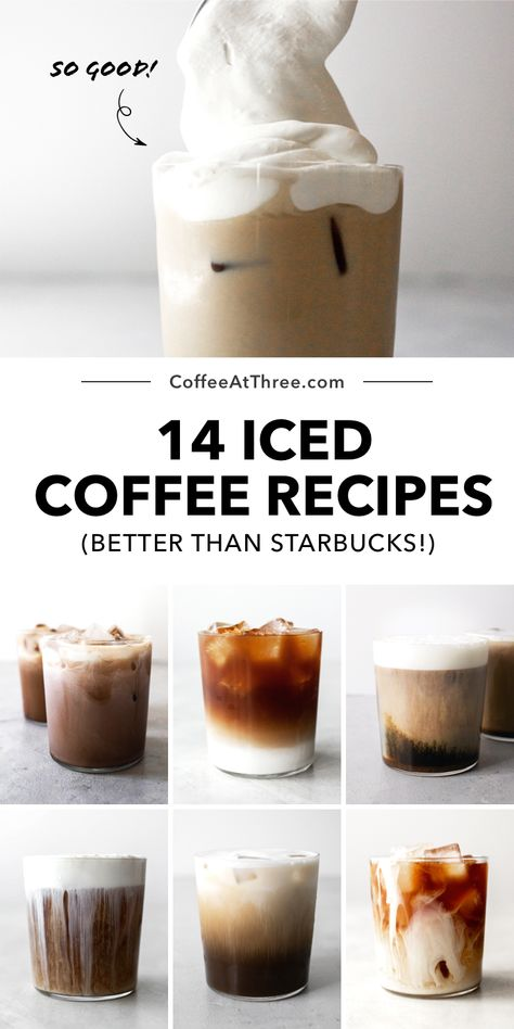 Best Iced Coffee, Iced Coffee Drinks, Coffee Drink Recipes, Starbucks Drinks, Iced Latte Recipe Starbucks, Dessert Recipes, Sweet Iced Coffee Recipe, Healthy Iced Coffee, Thai Iced Coffee