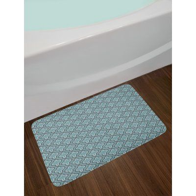 East Urban Home Oriental Moroccan Style Turquoise Bath Rug Brown