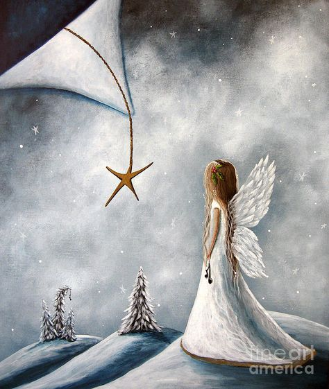 Angels Painting - The Christmas Star Original Artwork by Erback Art