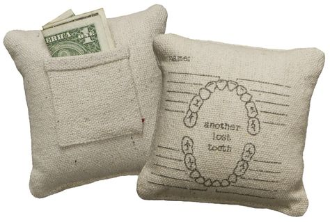 How cute!! Tooth fairy pillows with places to fill in the date each tooth is lost!