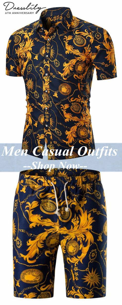 Up to 40% off.Retro Floral Chain Print Button Up Shirt & Retro Floral Chain Print Bermuda Shorts. #dresslily  #menfashion  #menshirts