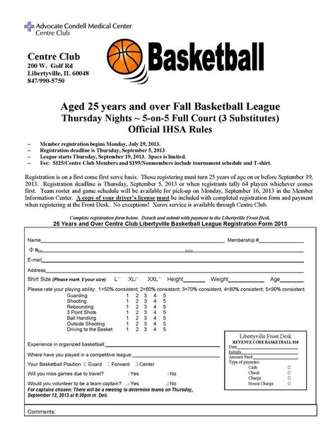 Center Club Libertyville Basketball! Join us to a 5 on 5 - club bylaws template