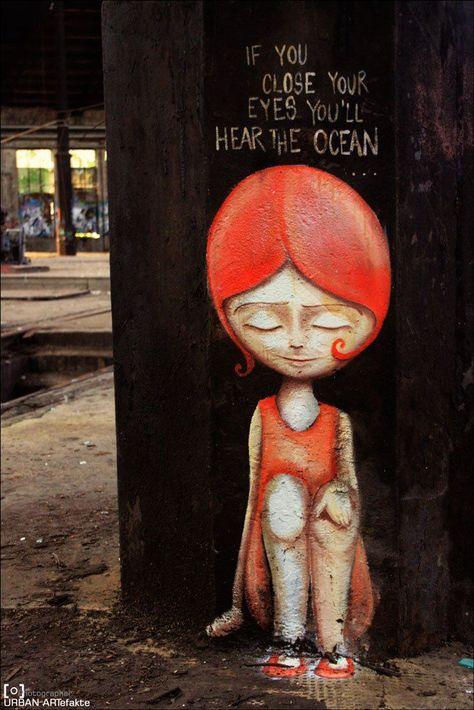 ::: If you close your eyes you'll hear the ocean :::- ::: If you close your eyes you'll hear the ocean :::  Caro-Geduldig  -#amazingstreetartgraffiti #streetartgraffitiboys #streetartgraffitiinspirational #streetartgraffitilondon #streetartgraffitiwings