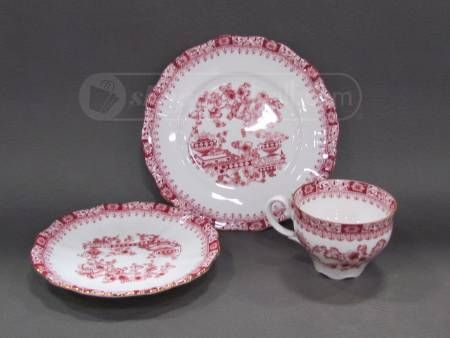 Antique Red/White Leftmann Weiden Bavaria Cup, Saucer, and Bread Plate
