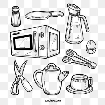 Black Line Draft Kitchen Supplies Clipart Black And White Microwave Oven Knife Png Transparent Clipart Image And Psd File For Free Download Black And White Lines Recipe Book Diy Clipart Black