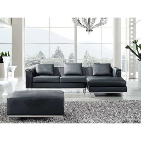 Incredible Beliani L Shaped Black Leather Sectional Sofa With Ottoman Pabps2019 Chair Design Images Pabps2019Com