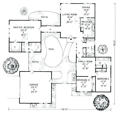 31 Lovely C Shaped House Floor Plan U Shaped House Plans Pool House Plans Ranch Style House Plans
