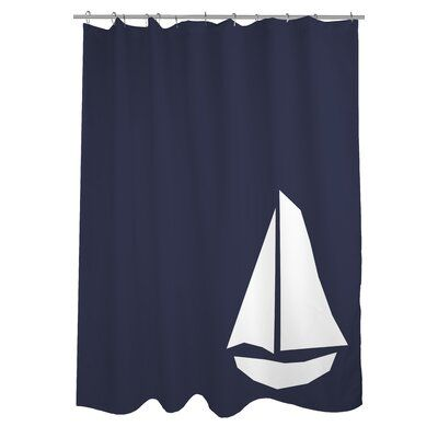 Breakwater Bay Stesha Vintage Sailboat Single Shower Curtain