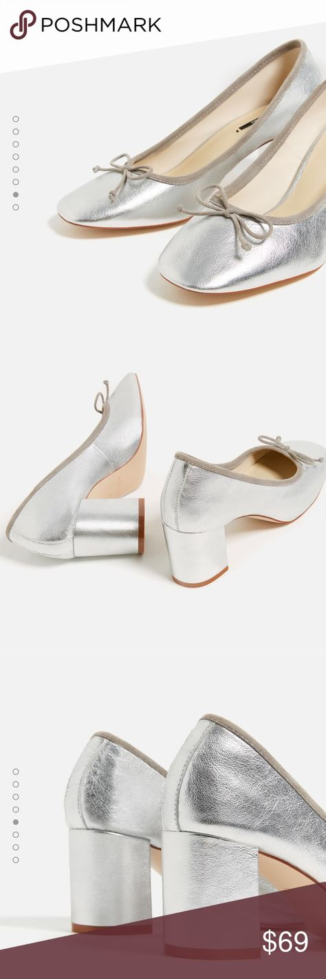 e7badf0e970 Laminated leather silver block heel ballerinas New with tags. Euro size 41.  Images from Zara.com. Real leather. Zara Shoes Heels