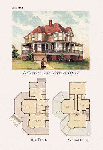 A Cottage Near Portland Maine Art Print House Plans Dream House Plans House Blueprints