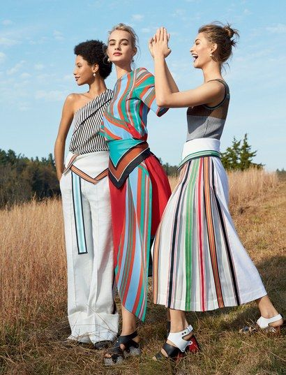 Lineisy Montero, Maartje Verhoef, and Grace Elizabeth in Jonathan Saunders's designs for Diane von Furstenberg and Proenza Schouler shoes.