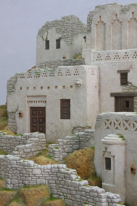 Casa De Muñecas En Miniatura A3 en relieve antiguo muro de piedra