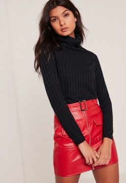 Black Ribbed Roll Neck Long Sleeve Top  58cb99345