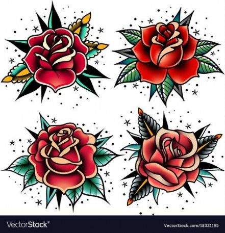 62 Trendy Tattoo Old School Dibujo In 2020 Traditional Rose Tattoos Rose Tattoos Red Rose Tattoo
