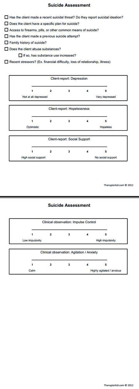 Suicide Risk Assessment Suicide assessment and management - sample threat assessment