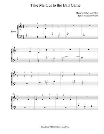 Take Me Out To The Ball Game Level 1 Piano Sheet Music With