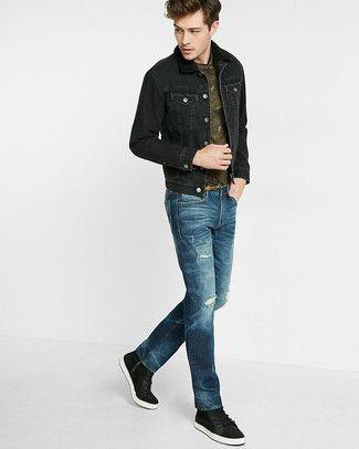 Zac Efron Wearing Black Denim Jacket Burgundy Hoodie Charcoal Jeans Top Sneakers Outfit Black Denim Jacket Mens Outfits