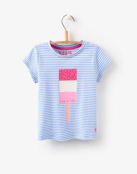 Jnrpixie Lolly Stripe Screen Print Jersey T-Shirt   Joules UK