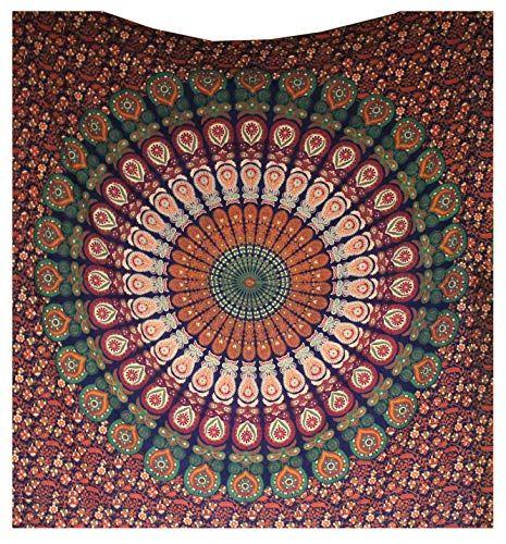 Raajsee Indisch Psychedelic Wandteppich Mandala Blau Rosa Twin