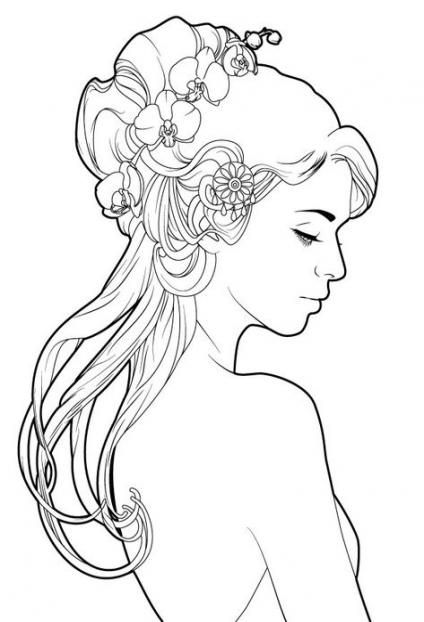 57 Ideas For Flowers In Hair Tattoo Simple Art Nouveau Illustration Mermaid Coloring Pages Drawings