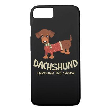 Christmas Dachshund In The Snow iphone case