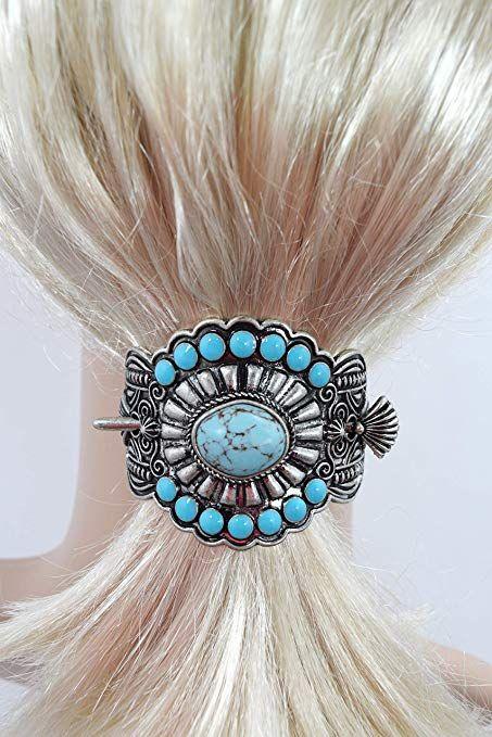Details about  /Southwest Bohemian Red Squash Blossom Hair Barrette Hair Stick