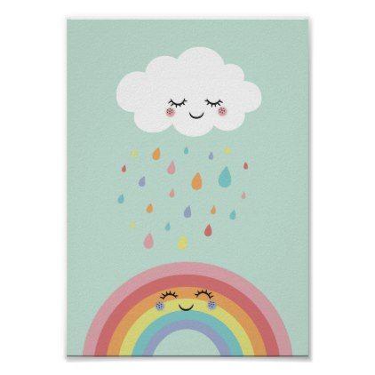 Rainbow Nursery Pastel Poster Print