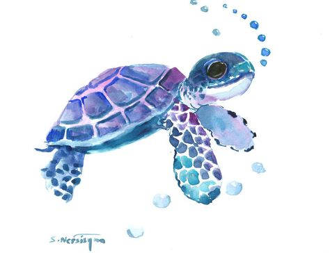 Baby Sea Turtle Blue Purple Watercolor Artwork Nursery Wall Art