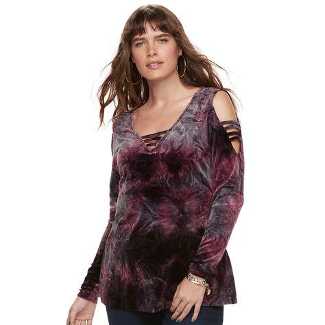 d0de415b45762 Plus Size Rock   Republic® Strappy Cold-Shoulder Velvet Top ...