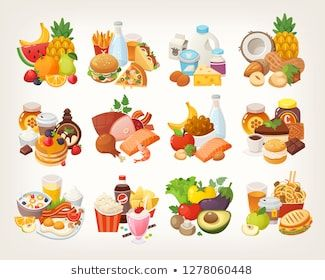 Set Of Food Icons Arranged In Categories Fruit And Vegetables Meat And Dairy Desserts And Breakfast Foods Isolated Color อาหารเย น ของขบเค ยว ต นมะเข อเทศ