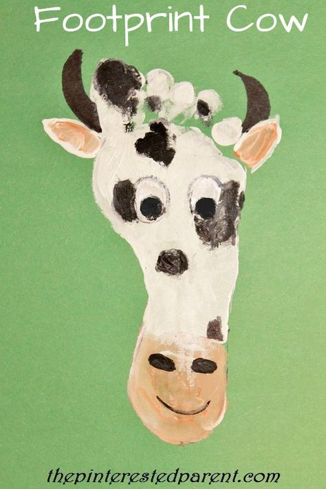"""We are continuing with our footprint crafts A-Z. Last night we were at letter C. We named off a few words that started with the """"C"""" & chose to make a cow craft. As always we painted…"""