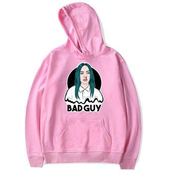 Billie Eilish Bad Guy Hoodie Capuche Femmes Fille Chemise manches longues