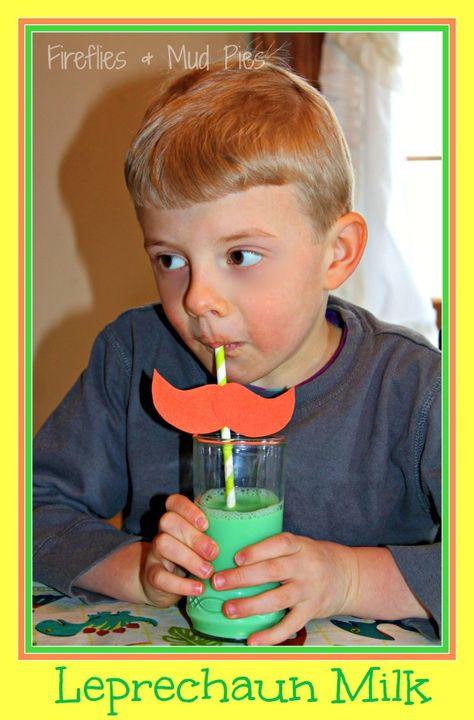 Leprechaun Milk with Mustache Straws