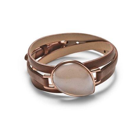Skagen Sea Glass Leather Bracelet ($90) ❤ liked on Polyvore featuring jewelry, bracelets, leather jewelry, rose jewelry, skagen, polish jewelry and leather bangle